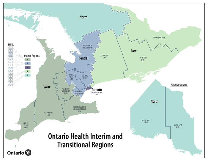 Ontario Health Interim and Transitional Regions