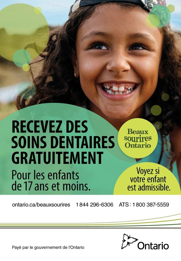 Recevez des soins dentaires gratuitement pour les enfants de 17 ans et moins