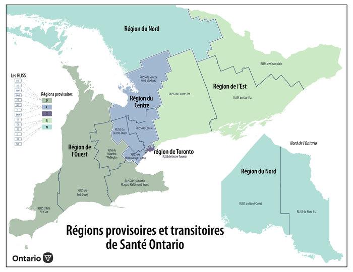 Régions provisoires et transitoires de Santé Ontario
