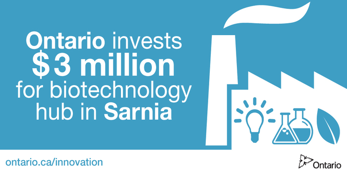 Ontario Investing $3 Million for Biotechnology Hub in Sarnia
