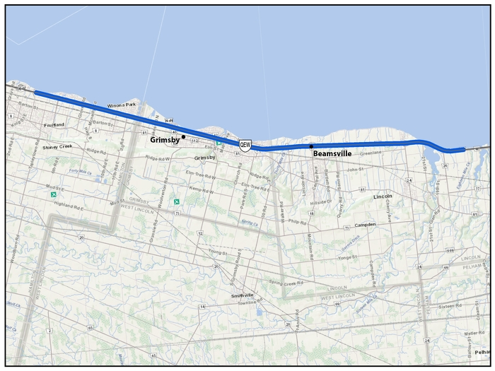 The Queen Elizabeth Way (QEW) from St. Catharines to Hamilton