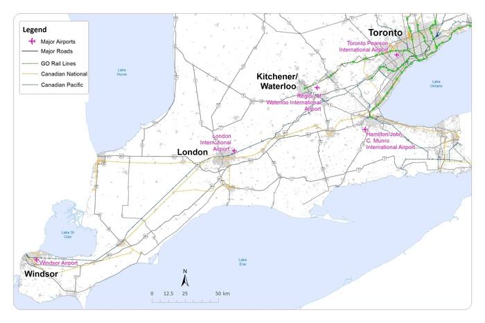 Carte de la zone d'étude pour le service ferroviaire à grande vitesse