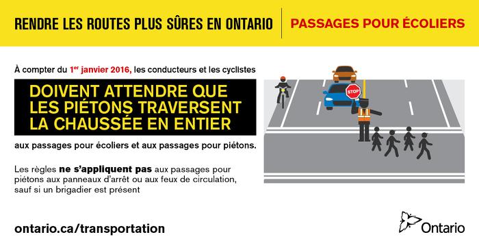 Rendre les routes plus sûres en Ontario : passages pour écoliers