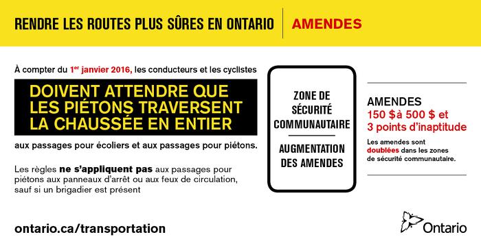 Rendre les routes plus sûres en Ontario : amendes