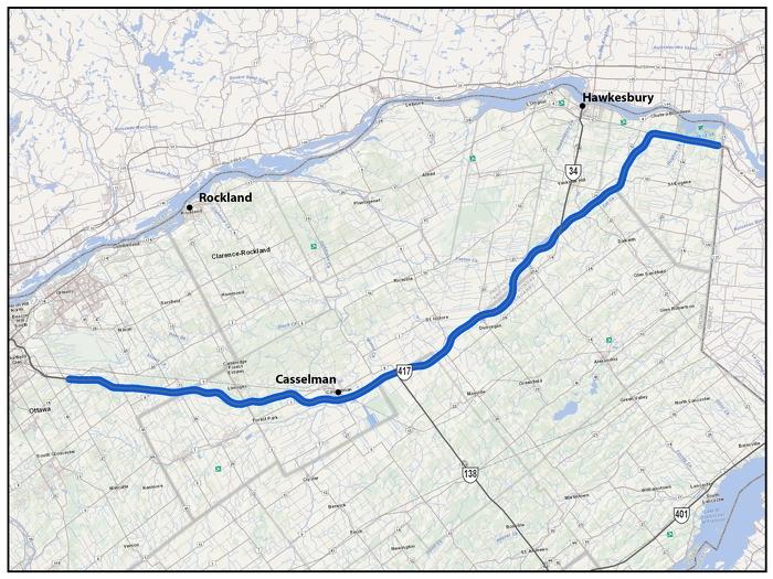 Autoroute 417, d'Ottawa/Gloucester à la frontière entre le Québec l'Ontario