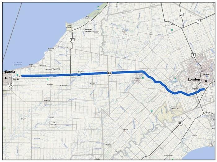 L'autoroute 402, de 200 mètres à l'ouest de White Oak Road à Londres jusqu'à 2,5 kilomètres à l'est de Airport Road à Sarnia (90 km)