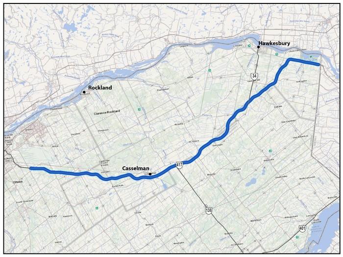 L'autoroute 417, à partir d'un kilomètre à l'est du chemin Anderson jusqu'à Ottawa/Gloucester jusqu'à un kilomètre à l'ouest de la frontière Ontario/Québec (102 km)