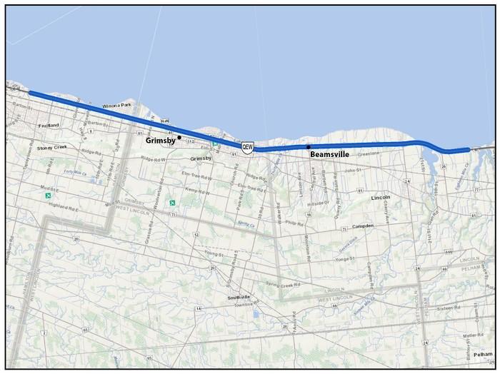 L'autoroute Queen Elizabeth Way (QEW), de 2 kilomètres à l'est du chemin Jordan à Lincoln/St. Catharines à 300 mètres à l'est du chemin Millen à Hamilton (32 km)