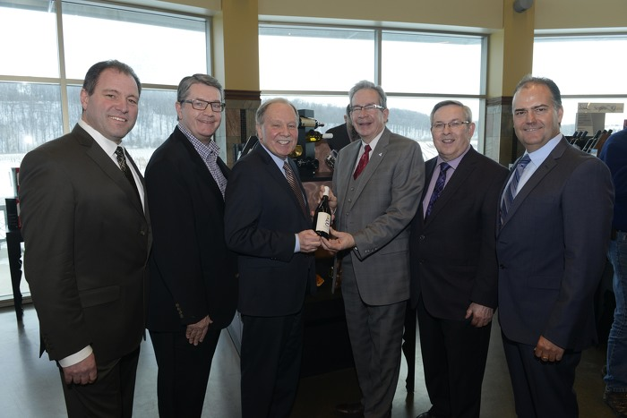 From left to right: Allan Schmidt Chair of Wine Council of Ontario; Patrick Gedge, President & CEO of Winery & Grower Alliance of Ontario; Dr. Dan Patterson, President of Niagara College; Minister Leal, Jim Bradley, MPP for St. Catharines, and Bill George Jr., Chair of Grape Growers of Ontario.