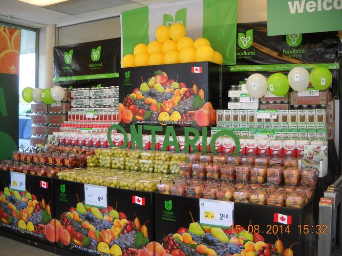 Ontario Tender Fruit displayed at Food Basics, Notre Dame Avenue in Sudbury