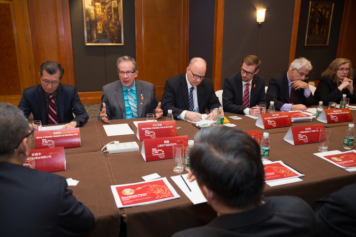 Minister Jeff Leal and Minister Michael Chan host an agri-food investment and export roundtable discussion in Shanghai.