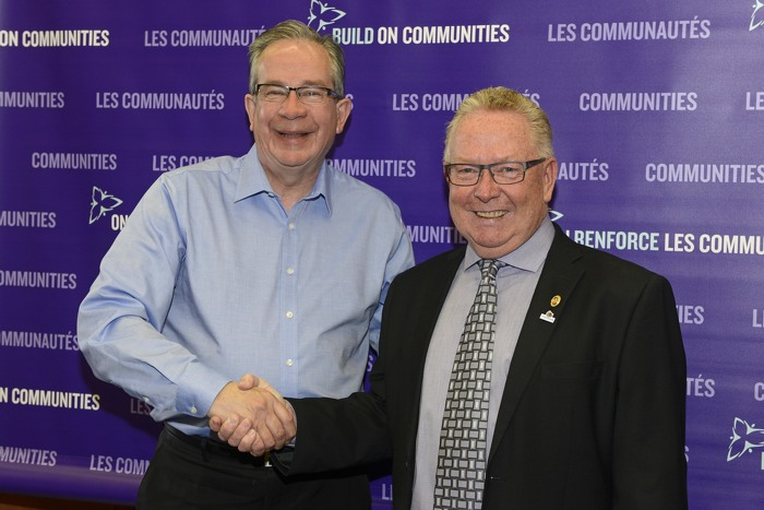 Minister of Agriculture, Food and Rural Affairs Jeff Leal, (left) shares a handshake and a smile with Robert Quaiff, the Mayor of Prince Edward County, at an event to announce OCIF funding for the Picton Water Treatment Plant on April 10th.