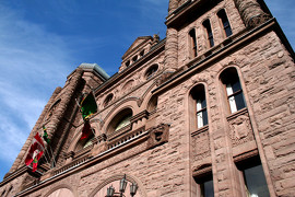 Ontario Election On June 12, 2014 Image: Exterior shot of the Ontario Legislative Building on a sunny day