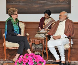 Kathleen Wynne, Premier of Ontario, and Narendra Modi, Prime Minister of India, held a productive meeting today in New Delhi.