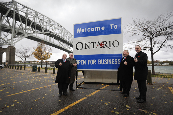 Premier Doug Ford unveils new Open for Business road sign in Sarnia