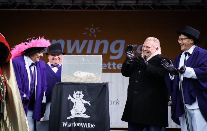 Premier Ford and Minister Walker attend the Wiarton Willie Festival.