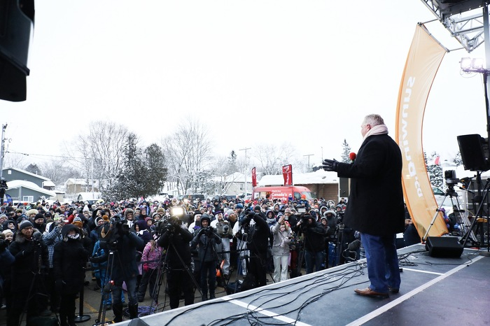 Premier Ford attends the Wiarton Willie Festival.