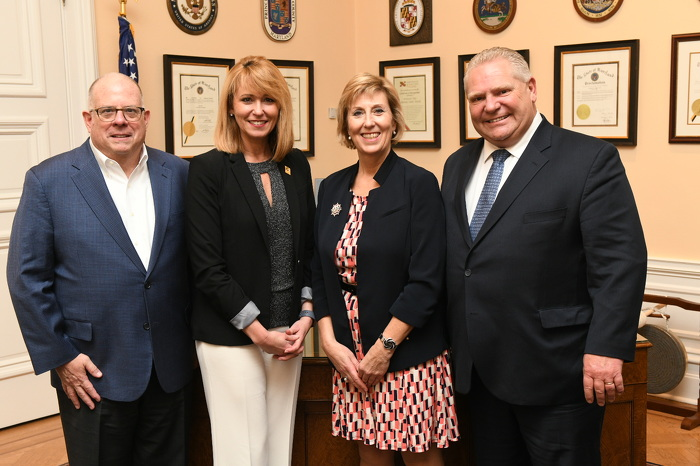 Premier Doug Ford, Maryland Governor Larry Hogan, Maryland Secretary of Commerce Kelly Schulz, and Ontario Minister of Infrastructure Laurie Scott meet in Annapolis, Maryland