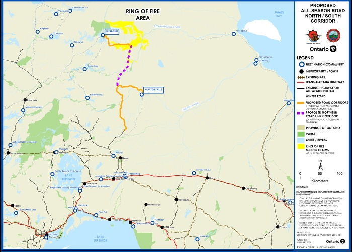 Map of proposed road infrastructure in the Ring of Fire region.
