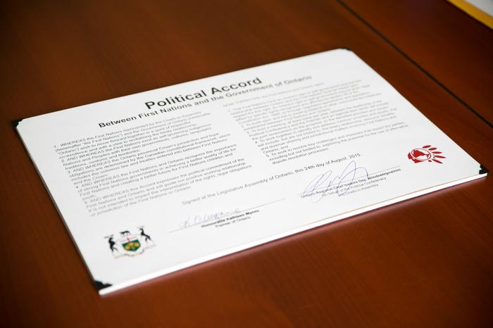 Les Premières Nations et l'Ontario signent un accord politique