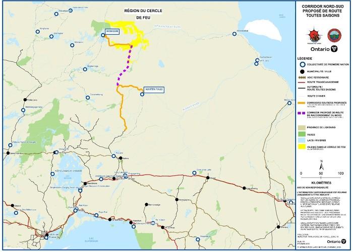 Carte des infrastructures routières proposées dans la région du Cercle de feu.