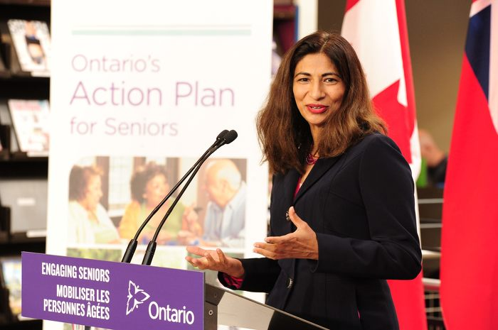 Dipika Damerla, Minister Responsible for Seniors Affairs delivers remarks at Cambridge's Idea Exchange regarding the government's Senior Community Grant program.
