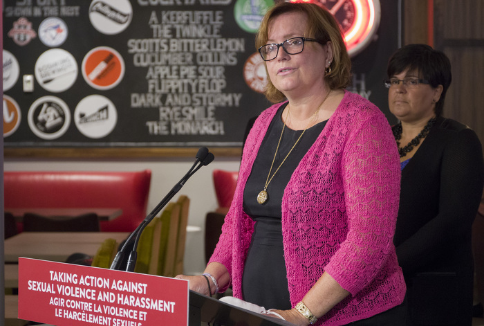 Tracy MacCharles, Minister Responsible for Women's Issues, delivers remarks at the Training for Frontline Workers Announcement at The Wickson Social.