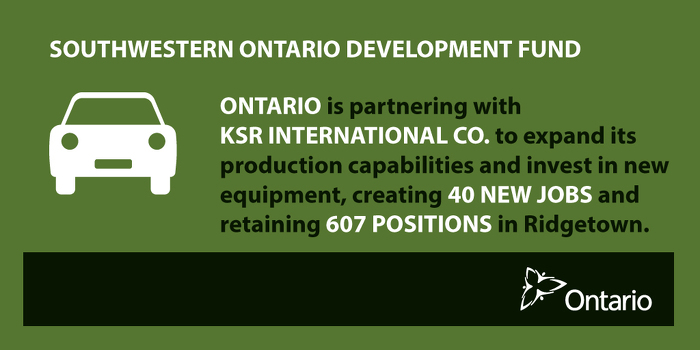 Ontario Boosting Economic Growth and Creating Jobs in Ridgetown