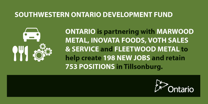 Ontario Supporting Economic Growth in Tillsonburg
