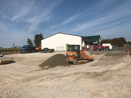 Preparing the site for Townsend Butchers Inc.'s new building in Simcoe, supported by funding from the Southwestern Ontario Development Fund.