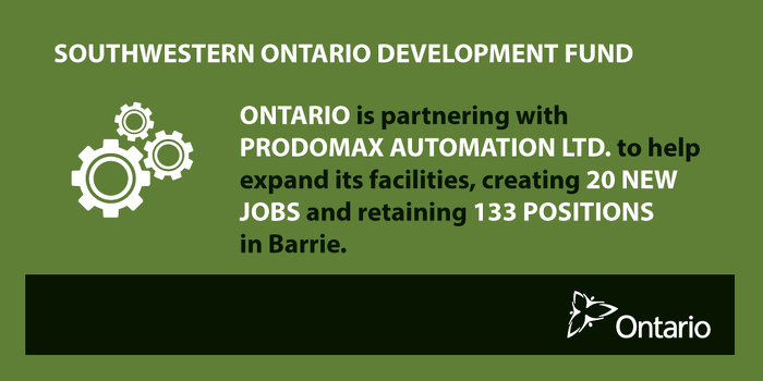 Ontario Supporting Jobs and Business Expansion in Barrie