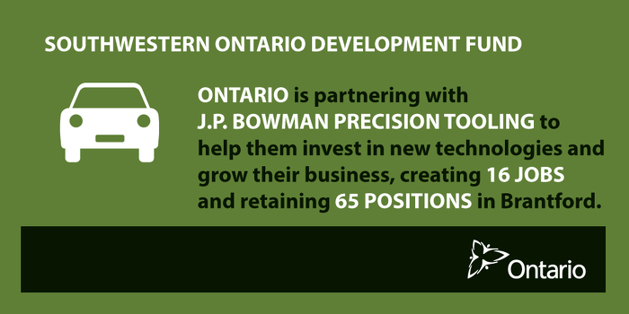 Ontario Supporting Manufacturing Sector in Brantford
