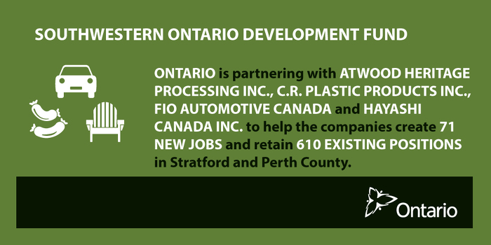 Ontario Supporting New Jobs and Growth in Stratford Region