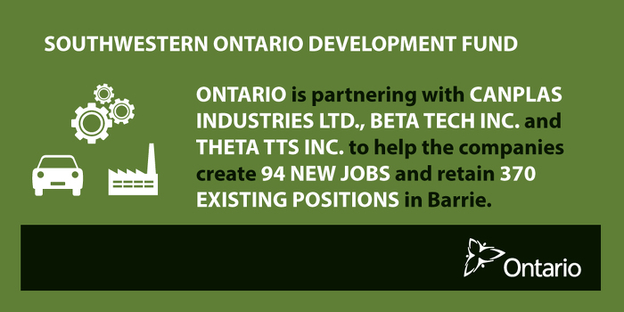 Ontario Supporting Over 460 Jobs in Barrie