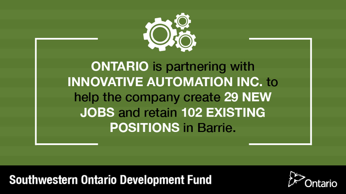 Ontario Supporting Advanced Manufacturing in Barrie