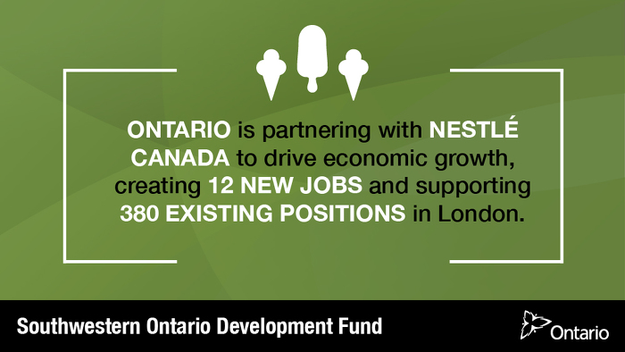 Ontario Partners with Nestlé Canada to Support Over 390 Jobs in London