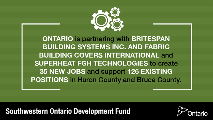 Ontario Supporting Over 160 Jobs in Huron County and Bruce County
