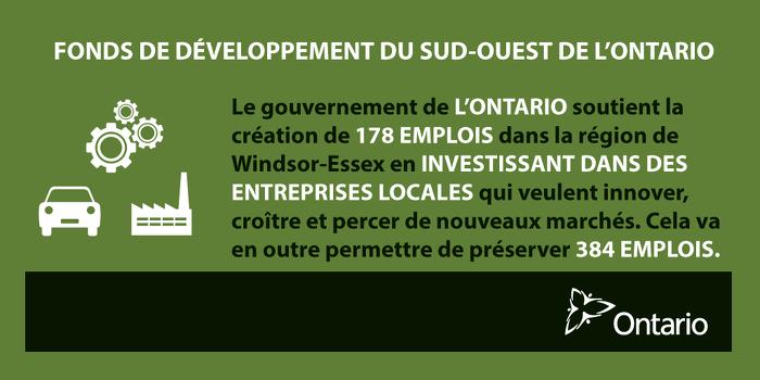 L'Ontario favorise la croissance économique dans la région de Windsor-Essex