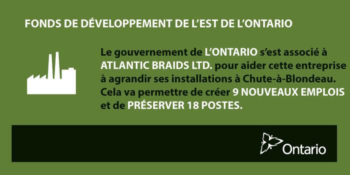 L'Ontario soutient la fabrication à Chute-à-Blondeau
