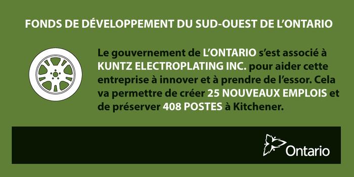 L'Ontario stimule la croissance économique et crée des emplois à Kitchener
