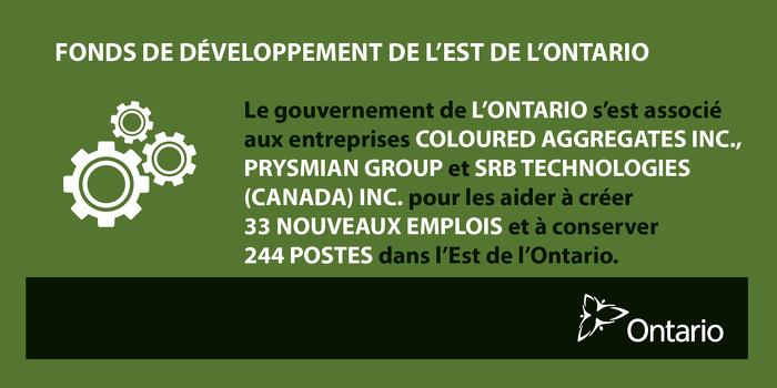 Soutenir la croissance économique et la fabrication dans l'Est de l'Ontario