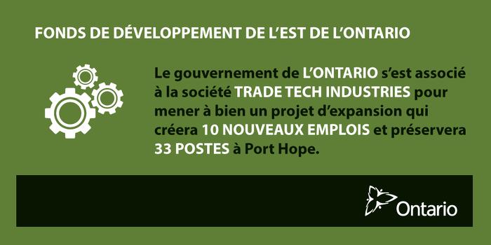 L'Ontario stimule la croissance économique à Port Hope