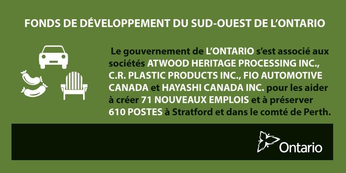 L'Ontario favorise la création de nouveaux emplois et soutient la croissance dans la région de Stratford
