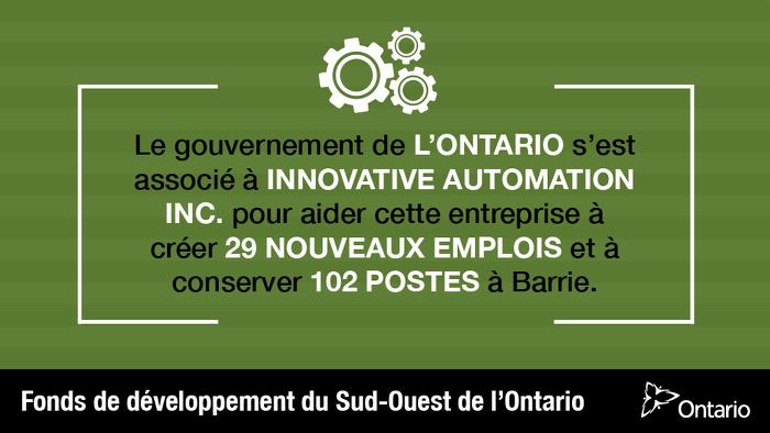 L'Ontario soutient la fabrication de pointe à Barrie