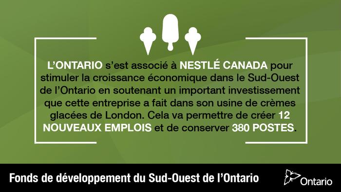 L'Ontario s'associe à Nestlé Canada pour soutenir plus de 390 emplois à London