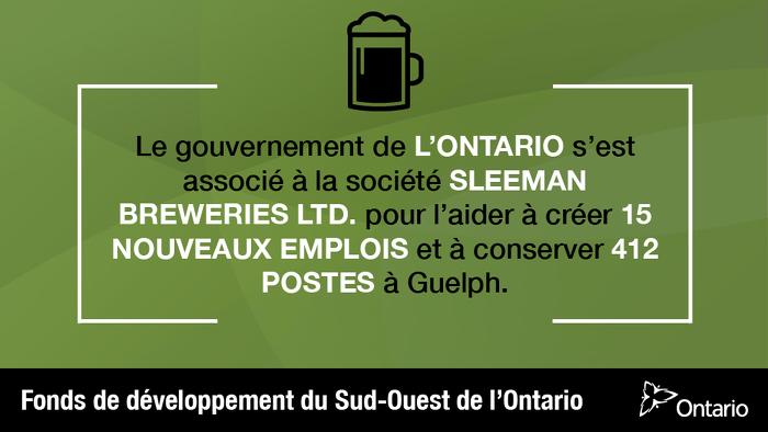 L'Ontario soutient plus de 425 emplois à Guelph