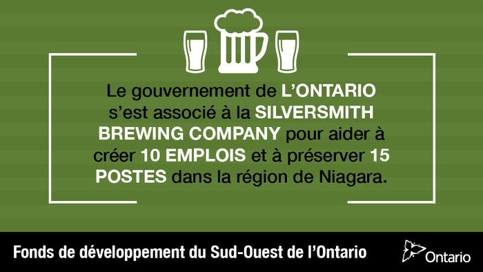 L'Ontario soutient une brasserie artisanale et la création d'emplois dans la région de Niagara