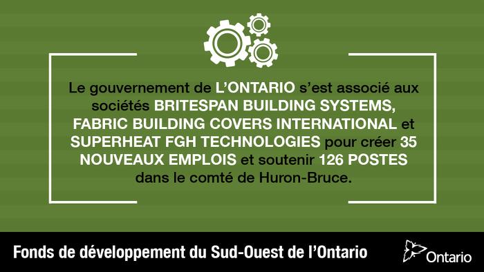 L'Ontario soutient plus de 160 emplois dans le comté de Huron-Bruce