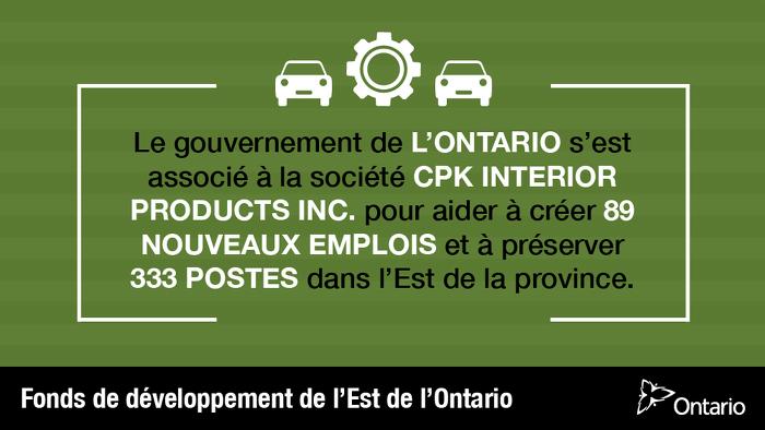 Un investissement soutient plus de 400 emplois dans l'Est de l'Ontario