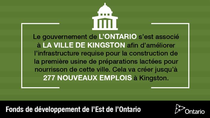 Créer l'infrastructure requise pour la première usine de préparations lactées pour nourrisson de Kingston